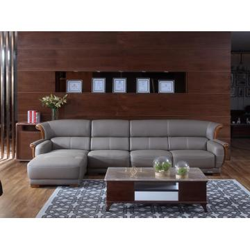 Grey Leather Sofa with Chaise