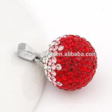 Delicado aço titânio 20 milímetros pingente jóias de cristal bola