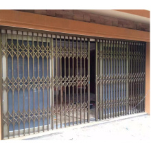 Entry aluminum alloy glass grill sliding door with burglar proof collapsible security grilles