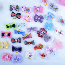 Dog Hair bands Small Bowknot Pet Grooming Products Mix Colors Varies Patterns Pet Hair Bows