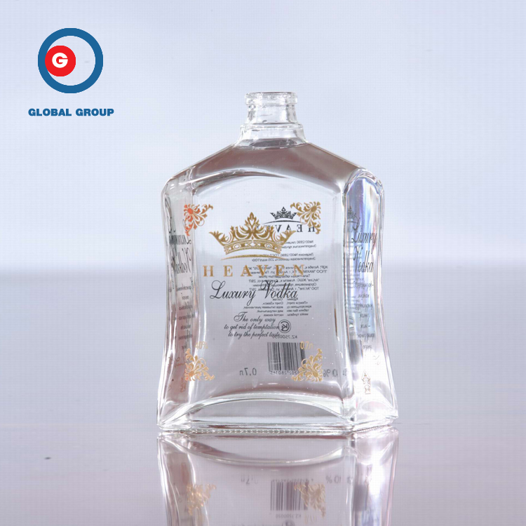 Narrow Mouth Printing Clear French Square Glass Bottle