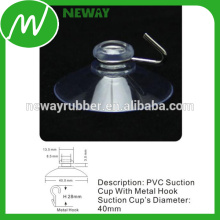Super Clear 40mm Metal Hook Ventosa de succión