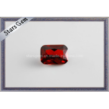 Rectángulo Forma Rojo Oscuro Zirconia Cúbica Piedra preciosa