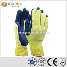 sunnyhope yellow liner blue safety Industrial Latex Rubber Hand Gloves
