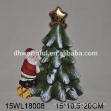 Nuevos ornamentos de Navidad de cerámica de diseño de santa y árbol