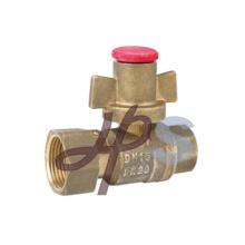 Válvula de bola bloqueable recta de cobre amarillo con la manija de cobre