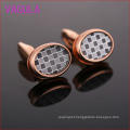 fashion 2015 Rose Gold Plaid Oval Cufflinks L51921