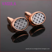 moda 2015 Rose Gold Plaid Oval Gemelos L51921