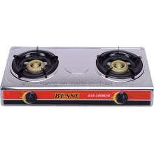 Stainless Steel Double Burner Gas Cooker, Blue Fire.