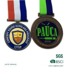 Medalla antigua de la reunión de deportes de la escuela del esmalte suave plateado cobre