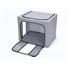Home organization large collapsible steel frame toy storage bin with two clear windows
