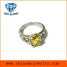 Joyas de acero inoxidable Anillo de boda de piedra ovalada amarilla