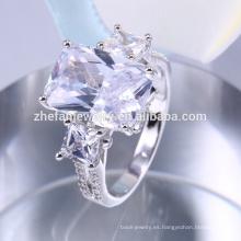 Anillos de compromiso únicos, diseño de anillo de piedra azul grande al por mayor