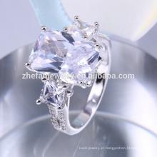 Anéis de noivado originais, grande anel de pedra azul design atacado