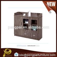 Wooden tea cabinet with three doors