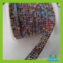 Mix color sparse cup rhinestone trim chain