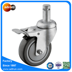 Total Lock Caster, Grey PU Wheel, Grip Ring Stem Castor