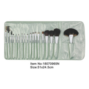 18pcs celadon plastic handle aniamal/nylon hair makeup brush tool set with matching color satin case