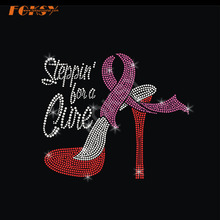 High Heel Pink Ribbon Iron på Rhinestone Transfer