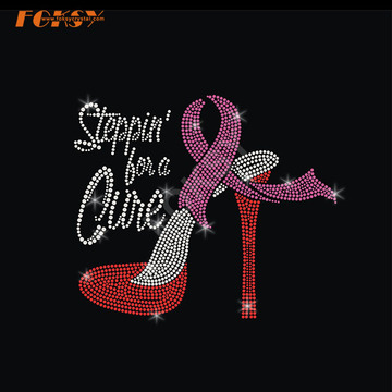 High Heel Pink Ribbon Iron on Rhinestone Transfer