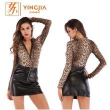 Women's Long Sleeve Zipper Sexy Leopard Print Jumpsuit
