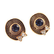 Fashion stud earrings, made of alloy and crystals, fashionable lady's hat design, nickel-free