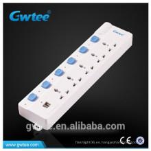 Enchufe de corriente eléctrica Conector de extensión USB con protección