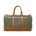 Wholesale canvas travel bag with leather trim