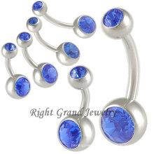14G Sapphire Nickel Anillos para el ombligo gratis