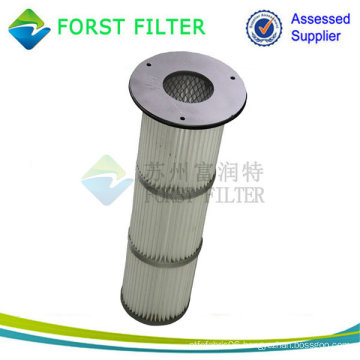 High Temperature Metal/Rubber Cap Top Install Pleated Dust Cartridge Filter