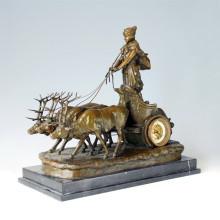 Uhr Statue Hirsch Chariot Bell Bronze Skulptur Tpc-035