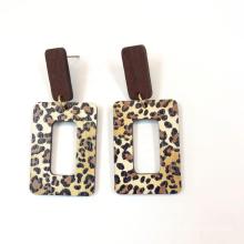 Square Geometric wood earring jewelry  fashion custom animal print leopard printed earring