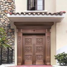 Portas de metal cobre luxo exterior portas de entrada de cobre