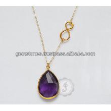 Joyería del collar del fabricante de la piedra preciosa del amatista de la piedra preciosa plateada para las mujeres