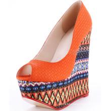 peep toe women fancy wedge solf sole heel shoes