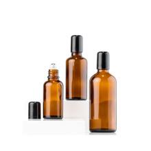 Wholesale 5ml 10ml 15ml 30ml 50ml 100ml roll-on amber glass bottle with metal roller ball