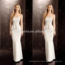 2014 Sexy Hülle Brautkleid mit Peplum trägerlosen bodenlangen langen Satin Brautkleid Großhandel Custom Made China NB0759