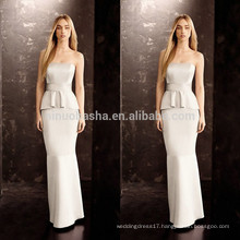 2014 Sexy Sheath Wedding Dress With Peplum Strapless Floor-length Long Satin Bridal Gown Wholesale Custom Made China NB0759
