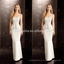 2014 Vestido de noiva com bainha sexy com Peplum Strapless Andar de comprimento Long Satin Vestido de noiva Atacado Custom Made China NB0759