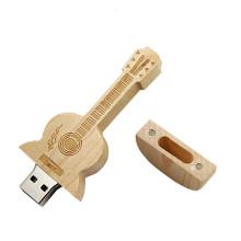Hot sell Eco Wooden  Guitar Shape Usb Flash Drive  Custom Usb  Drive Logo 8GB 16GB  Usb Flash 2.0 Drive
