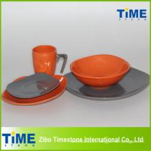 Square Shape Stoneware Colorful Dinner Set