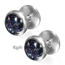 Jet 16G Steel Fake Plugs Earrings