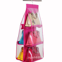 Hanging Purse Organizer, Breathable Nonwoven Handbag Organizer, 8 Easy Access Clear Vinyl Pockets