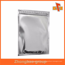 Bolsa de mylar plana de aluminio brillante con cremallera para alimentos, café en polvo