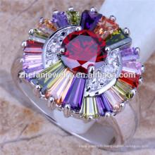 anneau de pierre multi couleur grande fleur anneaux diamant fabricant de bijoux