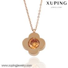 Fashion Elegant CZ Diamond Rose Gold Color Flower-Shaped Imitation Jewelry Necklace -Necklace-00053