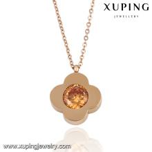 Moda elegante CZ diamante rosa cor de ouro em forma de flor colar de imitação de jóias -Necklace-00053