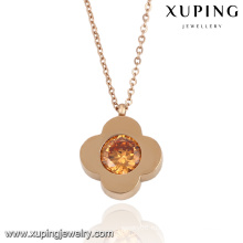 Мода элегантный CZ Алмаз розовое золото Цвет в форме цветка имитация ювелирные изделия ожерелье -ожерелье-00053
