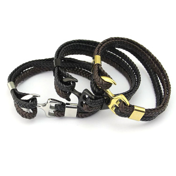 Anpassa Woven Leather Stål Anchor Hook Mens Armband