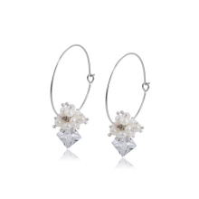 E-714 xuping fashion special design rhodium color synthetic zircon elegant ladies drop earrings